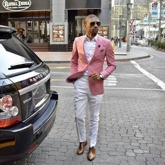 Jacket Outfits For Men: You'll be amazed at how extremely easy it is for any gent to throw together this casually neat look. Just a jacket paired with white chinos. Put a different spin on an otherwise simple outfit by slipping into a pair of brown leather oxford shoes.