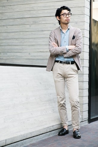 Black Leather Loafers Outfits For Men: This smart combination of a brown gingham blazer and beige chinos is extremely easy to throw together in seconds time, helping you look awesome and prepared for anything without spending a ton of time searching through your closet. Why not take a classic approach with shoes and complement this look with black leather loafers?