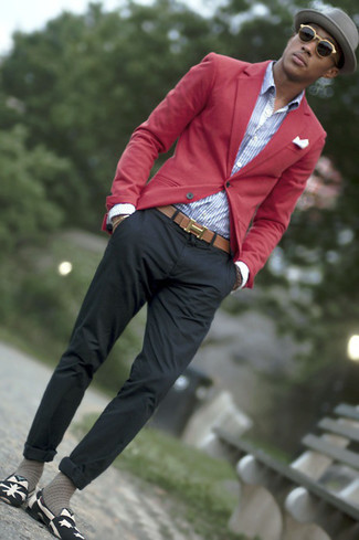 How to wear: red blazer, white and blue vertical striped dress shirt, charcoal chinos, black and white print canvas loafers