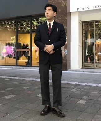 Black Leather Watch Outfits For Men: You'll be amazed at how easy it is for any gentleman to throw together a modern casual outfit like this. Just a black blazer teamed with a black leather watch. A great pair of dark purple leather derby shoes is the simplest way to add a little kick to the getup.