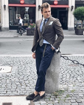 Dark Brown Beaded Bracelet Outfits For Men: You'll be surprised at how very easy it is for any man to put together a laid-back ensemble like this. Just a dark brown blazer teamed with a dark brown beaded bracelet. For a more polished aesthetic, complement your look with a pair of charcoal suede loafers.