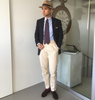 Beige Chinos Outfits: A black blazer and beige chinos teamed together are a perfect match. A pair of dark brown suede loafers can easily lift up this ensemble.