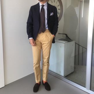 Dark Brown Suede Loafers Outfits For Men: This pairing of a black blazer and khaki chinos is extra stylish and provides instant class. Clueless about how to complement this outfit? Wear dark brown suede loafers to dial up the classy factor.