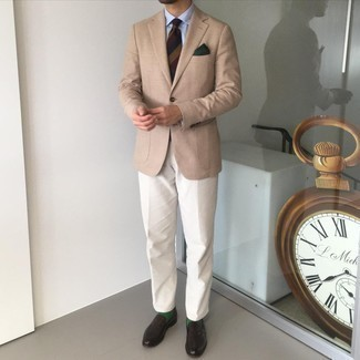 Dark Green Socks Outfits For Men: This combo of a tan blazer and dark green socks is great for casual situations. Complete your ensemble with a pair of dark brown leather oxford shoes for an added dose of style.