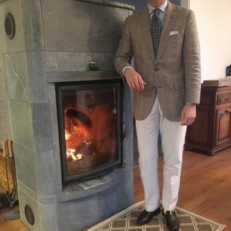 White Pocket Square Outfits: A brown plaid blazer and a white pocket square are true must-haves if you're piecing together a casual closet that holds to the highest menswear standards. Why not take a more polished approach with footwear and complement your getup with dark brown leather loafers?