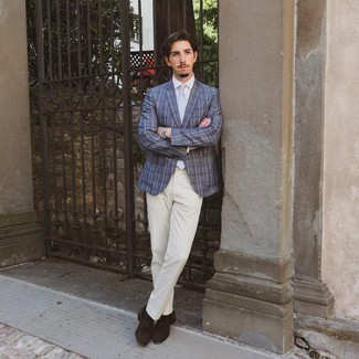 Beige Chinos Outfits: Take your sartorial game to a new level in this combination of a navy plaid blazer and beige chinos. On the shoe front, go for something on the dressier end of the spectrum and finish off your getup with dark brown suede tassel loafers.