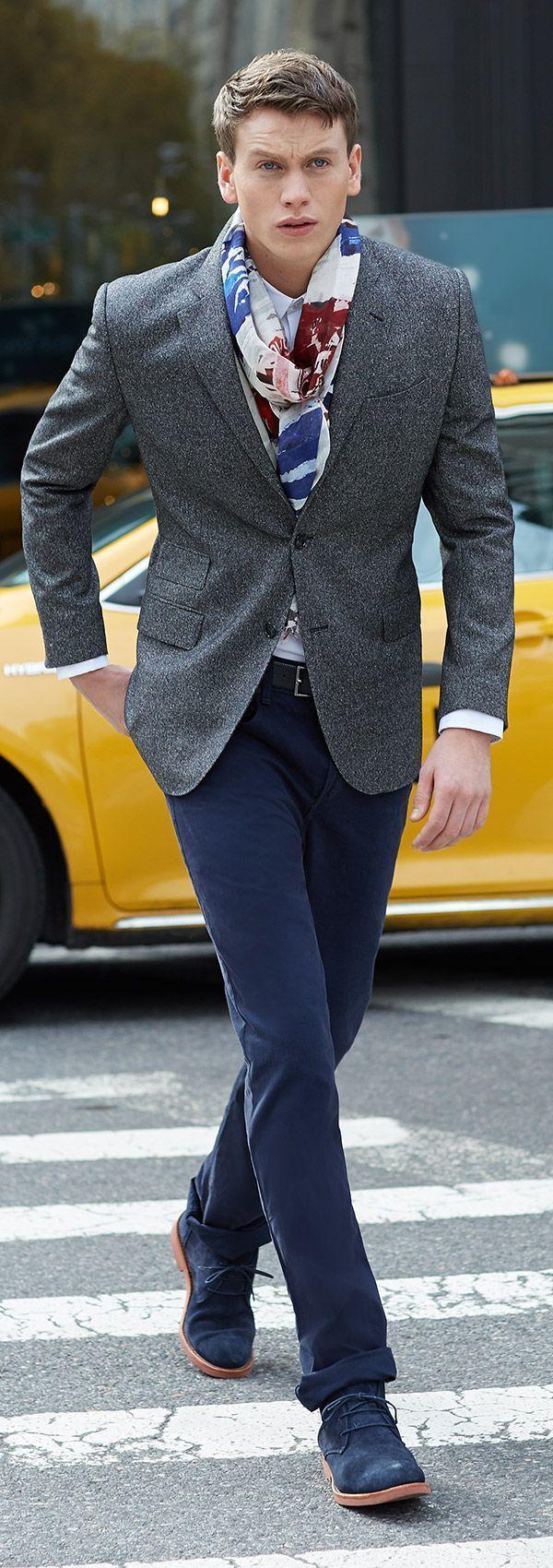 Black dress navy blazer - Men S Grey Wool Blazer White Dress Shirt Navy Chinos Navy Suede Desert Boots Men S Fashion