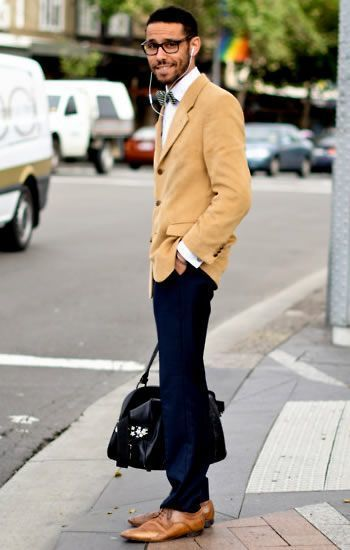 How To Wear Navy Chinos With a Tan Blazer | Men's Fashion
