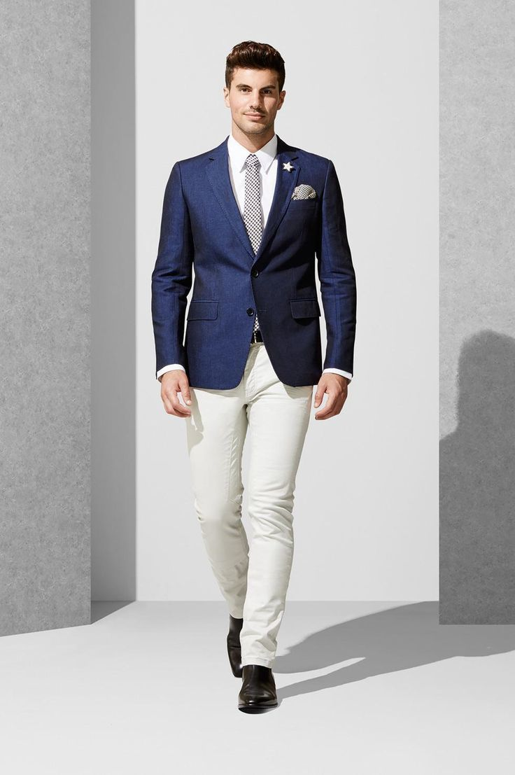 Men's Navy Blazer, White Dress Shirt, White Chinos, Black Leather Chelsea  Boots   Men's Fashion