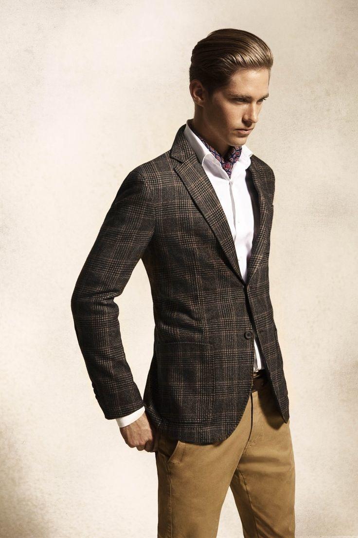 Men's Charcoal Plaid Blazer, White Dress Shirt, Khaki Chinos, Dark ...