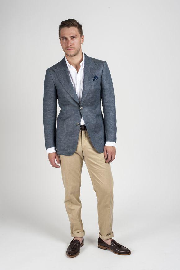 How To Wear Khaki Chinos With a Grey Blazer   Men's Fashion