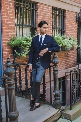 How to Wear Dark Brown Leather Loafers For Men: You'll be amazed at how super easy it is to get dressed this way. Just a navy blazer and dark brown leather loafers. Introduce a pair of charcoal suede dress boots to the equation to make the ensemble slightly more polished.
