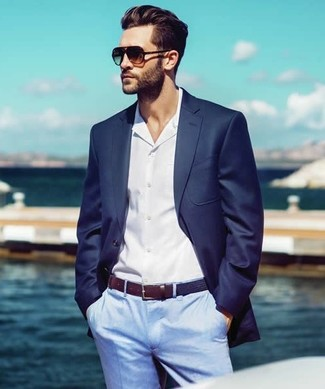 How To Wear Light Blue Dress Pants With a Navy Blazer | Men's Fashion