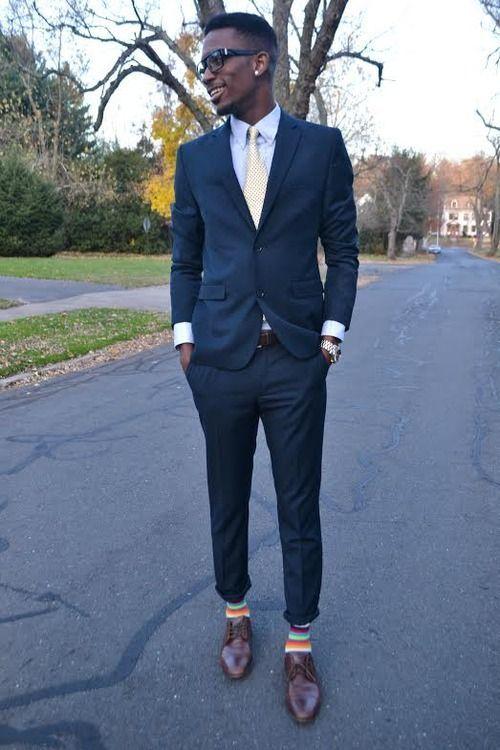 Men's Navy Blazer, Blue Dress Shirt, Navy Dress Pants, Brown ...