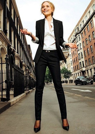 Women's Black Blazer, White Dress Shirt, Black Dress Pants, Black Leather Pumps