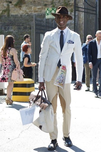 How to wear: white blazer, white dress shirt, beige dress pants, navy leather derby shoes