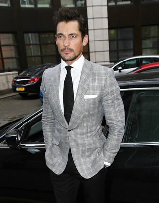 David Gandy wearing Grey Plaid Blazer, White Dress Shirt, Black Dress Pants, Black Tie