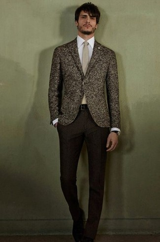 How to wear: dark brown wool blazer, white dress shirt, dark brown wool dress pants, beige tie
