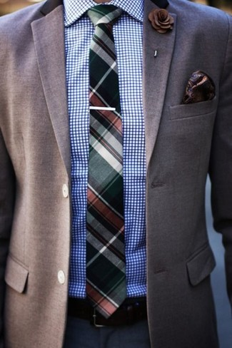 How to wear: brown blazer, white and blue check dress shirt, navy dress pants, dark green plaid tie