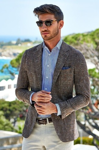 Men's Brown Linen Blazer, White and Navy Vertical Striped Dress ...