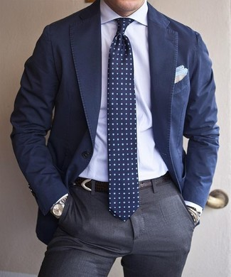Navy Cotton Blazer | Men's Fashion