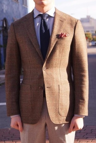 How to wear: brown plaid blazer, light violet dress shirt, grey wool dress pants, navy knit tie
