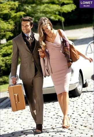 How to wear: dark brown plaid blazer, white and blue vertical striped dress shirt, dark brown dress pants, dark brown suede desert boots