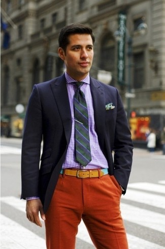 How to wear: navy blazer, purple gingham dress shirt, orange dress pants, multi colored tie