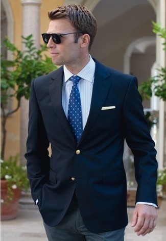 How to wear: navy blazer, white vertical striped dress shirt, grey dress pants, blue tie