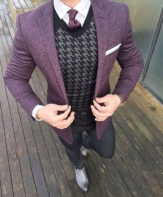 How to wear: purple wool blazer, white dress shirt, charcoal wool dress pants, grey leather chelsea boots