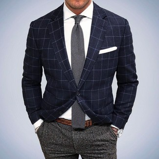 How to wear: navy check blazer, white dress shirt, grey wool dress pants, grey knit tie