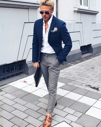 How to wear: navy blazer, white dress shirt, grey dress pants, tobacco leather double monks