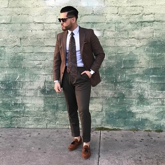 How to wear: brown check blazer, white dress shirt, dark brown dress pants, brown suede tassel loafers