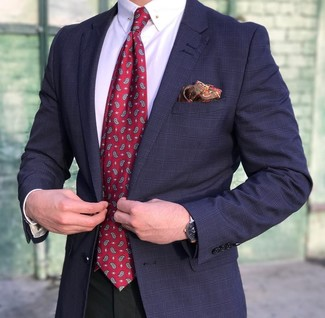How to wear: navy plaid blazer, white dress shirt, black dress pants, red paisley tie