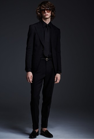 How to wear: black blazer, black dress shirt, black dress pants, black leather loafers
