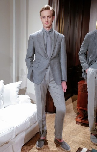 How to wear: grey blazer, grey dress shirt, grey dress pants, grey canvas espadrilles