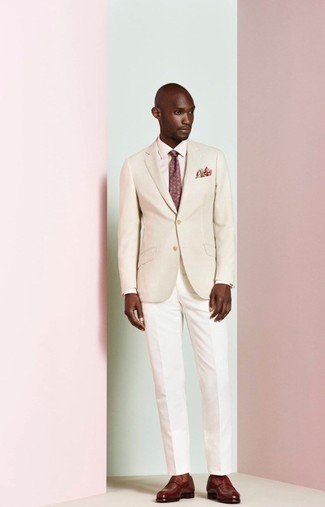 How to wear: beige blazer, pink dress shirt, white dress pants, burgundy leather loafers