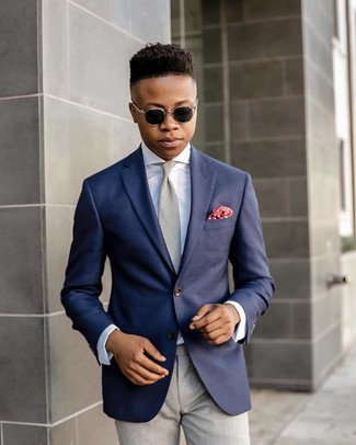 How to wear: navy blazer, white dress shirt, grey dress pants, grey tie