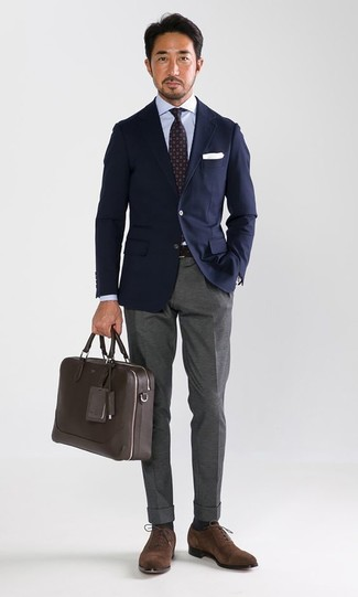 How to wear: navy blazer, light blue dress shirt, grey dress pants, brown suede oxford shoes