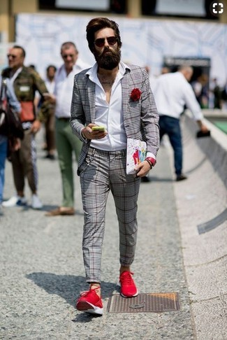 How to wear: grey plaid blazer, white dress shirt, grey plaid dress pants, red athletic shoes