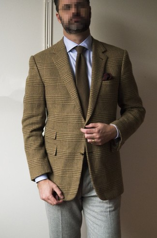 How to wear: brown plaid wool blazer, light blue dress shirt, grey wool dress pants, brown tie