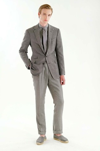 How to wear: grey blazer, grey check dress shirt, grey dress pants, grey canvas espadrilles