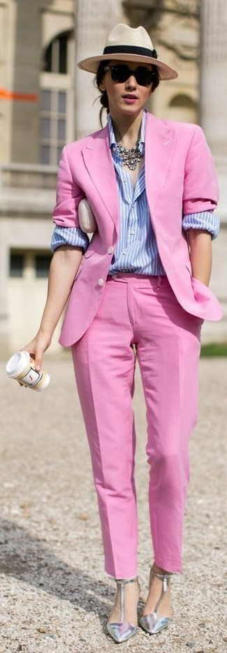 How to Wear a Hot Pink Blazer For Women: This pairing of a hot pink blazer and hot pink dress pants is certainly eye-catching, but it's extremely easy to wear. When in doubt as to what to wear on the shoe front, complete this ensemble with a pair of silver leather pumps.
