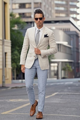 How to wear: beige blazer, white dress shirt, light blue dress pants, brown leather brogues