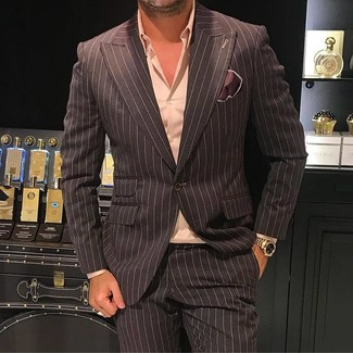 How to wear: dark brown vertical striped blazer, pink dress shirt, dark brown vertical striped dress pants, dark brown silk pocket square