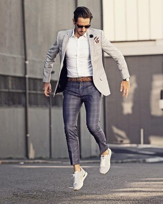 How to wear: grey check blazer, white dress shirt, navy plaid dress pants, white low top sneakers