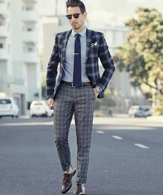 How to wear: navy plaid wool blazer, grey dress shirt, grey plaid wool dress pants, dark brown leather derby shoes