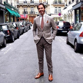 How to wear: brown plaid blazer, white dress shirt, brown dress pants, tobacco leather double monks