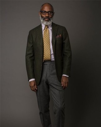 How to wear: black wool blazer, light violet dress shirt, charcoal wool dress pants, mustard tie