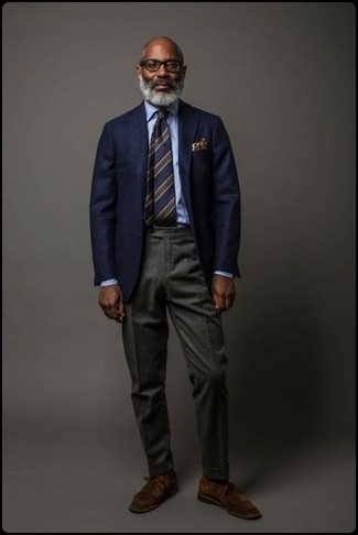 How to wear: navy wool blazer, light blue dress shirt, charcoal wool dress pants, dark brown suede desert boots